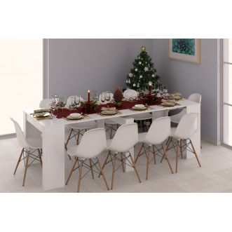 Table extensible - 10 convives - Blanc