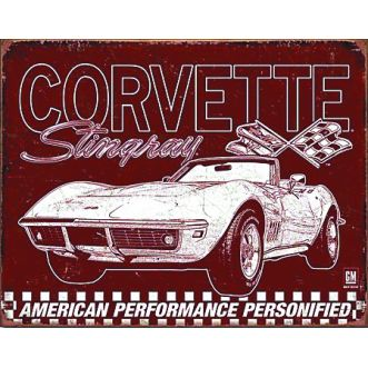 Plaque Corvette 69 stingray plaque us - 30x40 cm