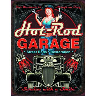Plaque Hot rod garage - pistons - 30x40 cm