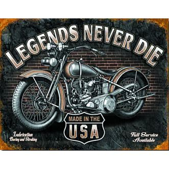 Plaque Legends never die plaque us - 30x40 cm