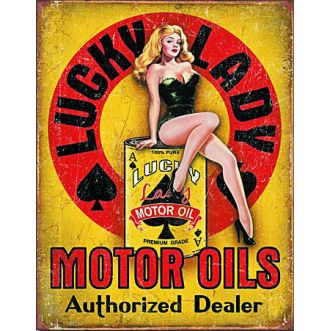 Plaque Lucky lady motor oil plaque us - 30x40 cm