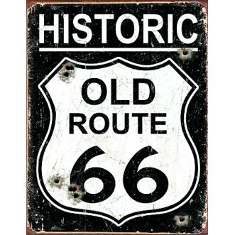 Plaque Old Route 66 - Weathered - 40x30cm