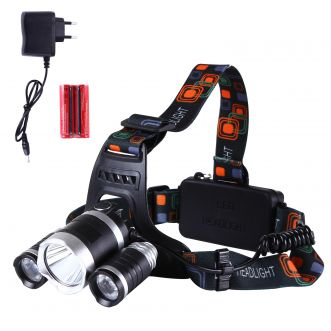 Lampe frontale LED rechargeable - 3 LED - 6000Lm