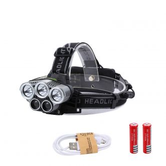 Lampe frontale LED rechargeable - 5 LED - 8000Lm