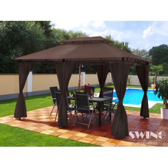 Tonnelle pavillon Minzo LED - 3 x 4 m - Marron