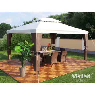 Tonnelle pavillon Royal LED - 3 x 4 m - Crème et marron