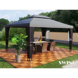 Tonnelle pavillon Royal LED - 3 x 4 m - Anthracite et noir