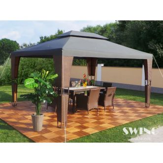 Tonnelle pavillon Royal LED - 3 x 4 m - Anthracite et marron