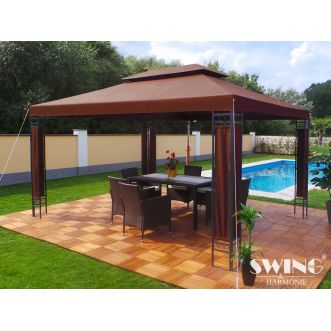 Tonnelle pavillon Milano LED - 3 x 4 m - Marron