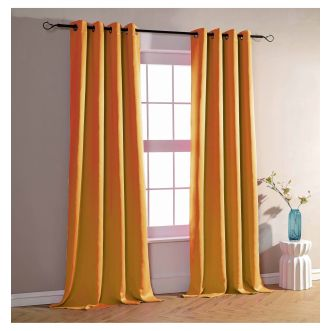 Lot de 2 rideaux occultants - Orange - 140 x 260 cm