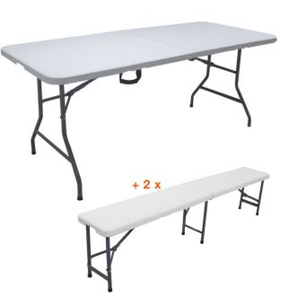 Lot table pliante + 2 bancs pliants - Blanc