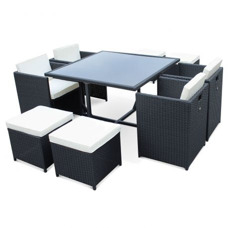 achat salon de jardin vasto noir ecru 4 8 places pas cher interdit au public. Black Bedroom Furniture Sets. Home Design Ideas