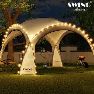 Tente-dôme  LED - 3,6 x 3,6 x 2,3 m - Anthracite