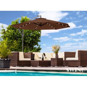 Parasol LED 350 cm - Marron