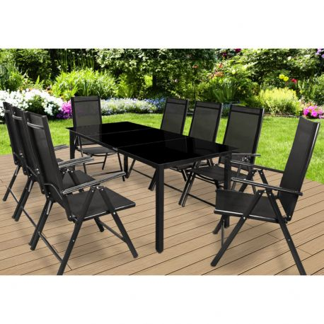 Ensemble de jardin 8 places - table alu et verre - anthracite