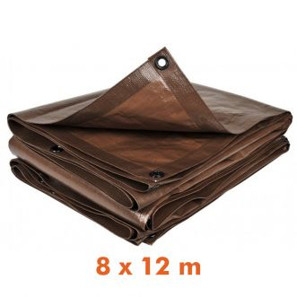 Bâche à bûches marron nature - 8 x 12 m - 140 g/m²