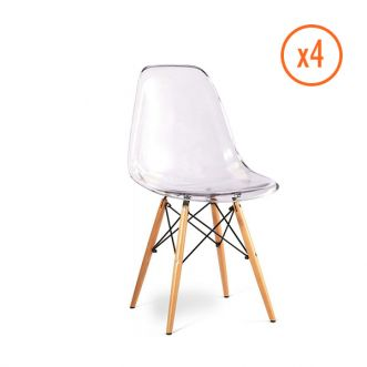 Lot de 4 chaises SPARANTE - Transparente