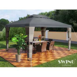 Tonnelle pavillon Royal LED en rotin - 3 x 4 m - Anthracite et gris