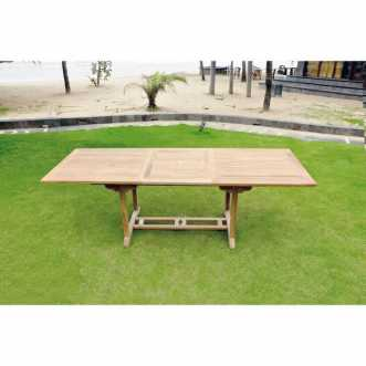Garang - Table de jardin extensible en teck brut - 10 places - Marron