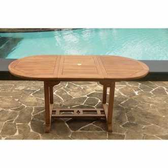 Garang - table de jardin extensible en teck brut - 6 places - Marron