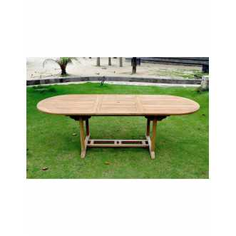 Garang - table de jardin extensible en teck brut - 10 places