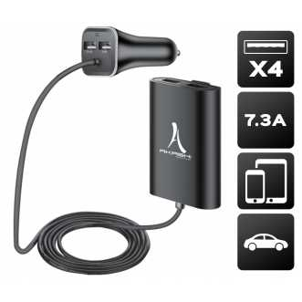 Chargeur allume cigare 4 USB TURBO - charge rapide 7.3A