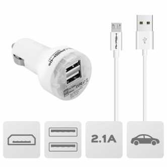Pack chargeur allume cigare + câble Micro usb