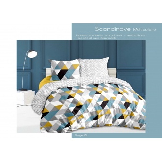 Housse de couette + 2 taies - 240x220cm - scandinave multicolore