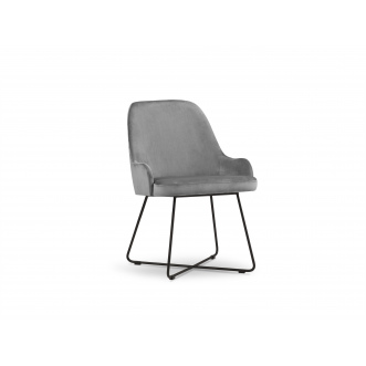 Chaise velours - Hugo - Gris Clair