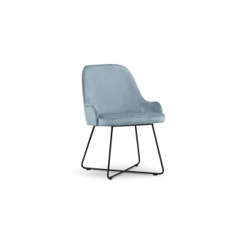 Chaise velours - Hugo - Bleu Clair