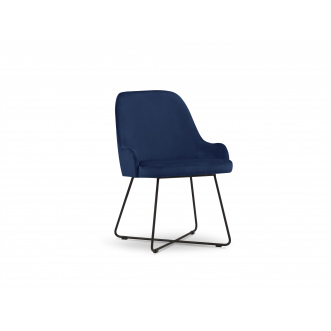 Chaise velours - Hugo - Bleu Roi