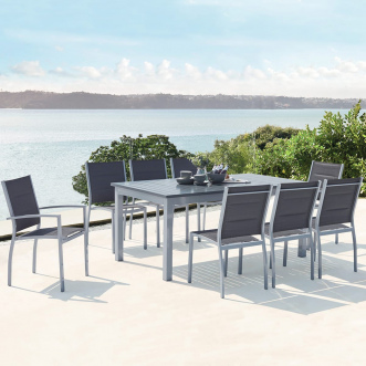 Mazzara : Salon de jardin extensible - 8 places - Gris