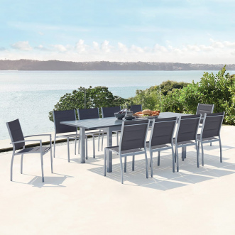 Mazzara : Salon de jardin extensible - 10 places - Gris
