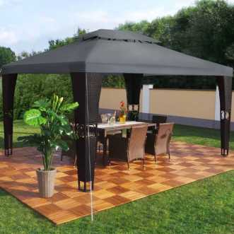 Tonnelle pavillon Royal LED en rotin - 3 x 4 m - Anthracite et noir