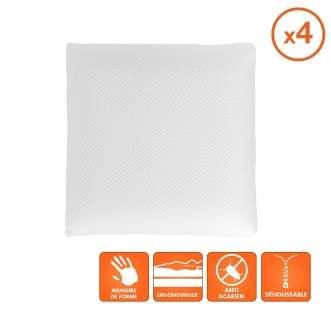 Lot de 4 oreillers Viscogel - 60x60 cm